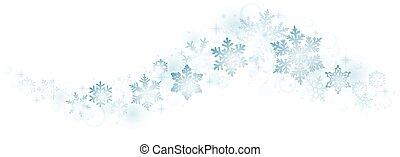 tourbillon, flocons neige, bleu