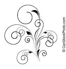 tourbillon, floral, forme, conception