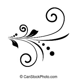 tourbillon, floral, forme, retro