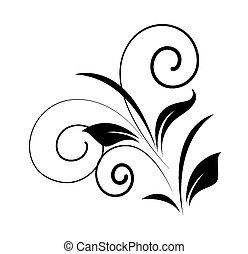 tourbillon, floral, forme, vecteur