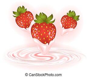 tourbillon, fraises, crème