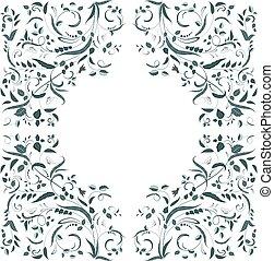 tourbillon, frontière florale, conception, ton