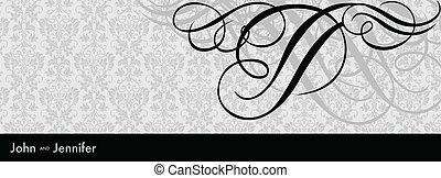 tourbillon, noir, cadre, vecteur, ornement