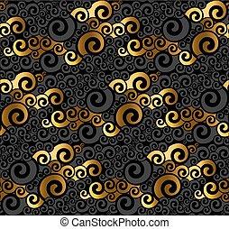 tourbillon, noir, pattern., seamless, or