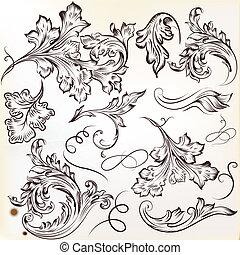 tourbillon, vecteur, ensemble, calligraphic