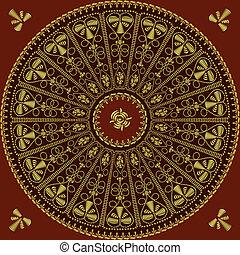 tourbillons, dentelle, or, vendange, modèle, feuilles, traditionnel, rose, fond, rond, rouges, embroidery: