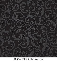 tourbillons, papier peint, noir, seamless