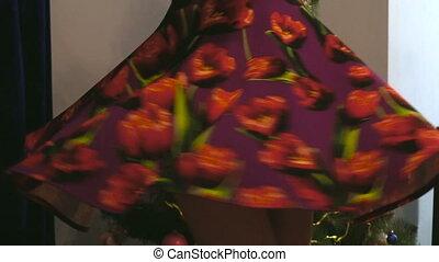 tourbillons, pourpre, modèle, arbre, floral, girl, robe,...