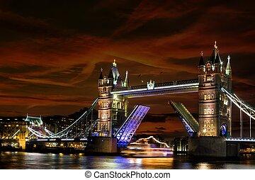 tourdu pont, nuit, londres