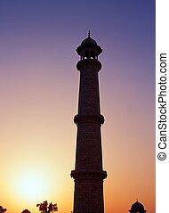 tourelle, india., mahal, coucher soleil, taj