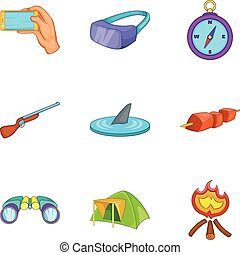 Tourer icons set, cartoon style - Tourer icons set. Cartoon...