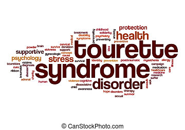 tourette, concept, woord, syndroom, wolk