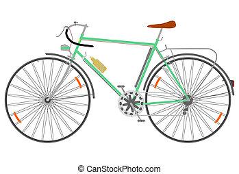 Retro touring bike on a white background.