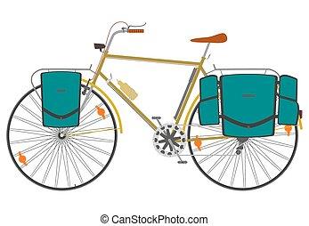 Touring bike. - Touring bika with sacs on a white...