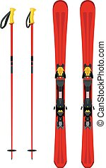 Touring set, skiing equipment - skis and poles in flat style.