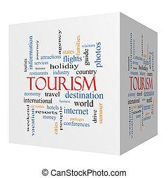 Tourism 3D cube Word Cloud Concept