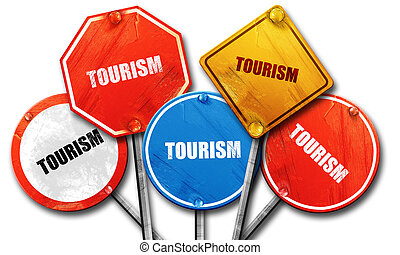 tourism, 3D rendering, street signs