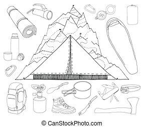 Tourism and camping set.