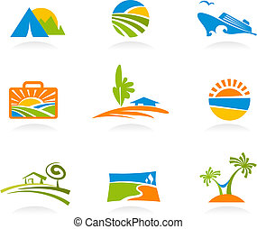Tourism and vacation icons and logos - Collection of...