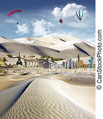 Tourism around the world: world landmarks in the dunes with...