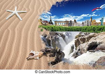 Tourism around the world: world landmarks among the trees on...