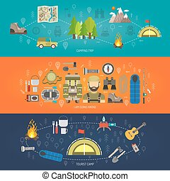Tourism horizontal banner set with tourist camp elements isolated vector illustration
