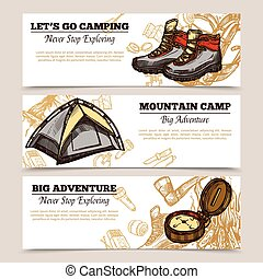 Tourism Camping Hiking Banners