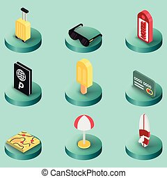 Tourism color isometric icons. Vector illustration, EPS 10