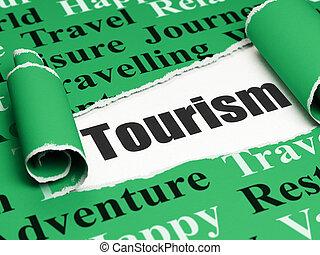Tourism concept: black text Tourism under the piece of torn paper
