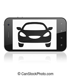 Tourism concept: Smartphone with Car on display