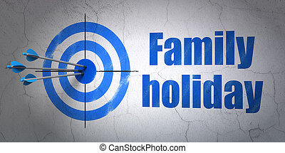 Tourism concept: target and Family Holiday on wall background