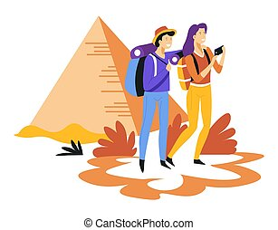 Tourism couple with backpacks and Egyptian pyramids traveling and sightseeing