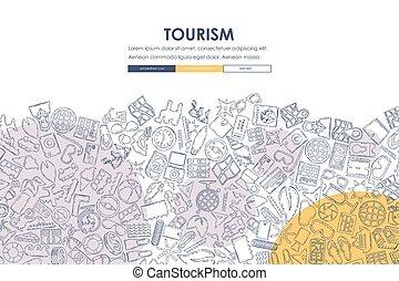 tourism Doodle Website Template Design