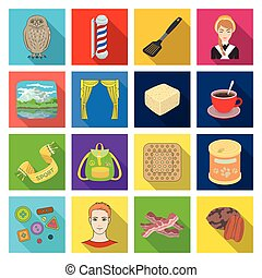 , tourism, ecology, business and other web icon in flat style. restaurant, rest, nature, icons in set collection.