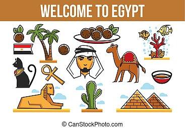 Tourism Egyptian symbols architecture cuisine and nature...