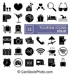 Tourism glyph icon set, holiday symbols collection, vector sketches, logo illustrations, travel signs solid pictograms package isolated on white background, eps 10.