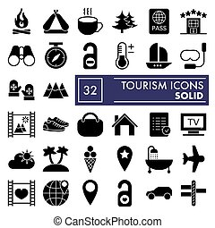 Tourism glyph icon set, travel symbols collection, vector sketches, logo illustrations, vacation signs solid pictograms package isolated on white background, eps 10.
