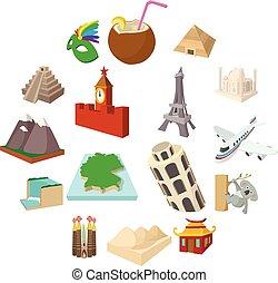 Tourism icon set, cartoon style