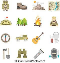 Tourism Icons Flat Set
