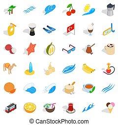 Tourism icons set, isometric style