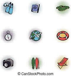 Tourism icons set, pop-art style