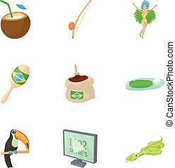 Tourism in Brazil icons set, cartoon style