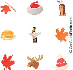Tourism in Canada icons set, cartoon style