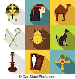 Tourism in Egypt icon set, flat style