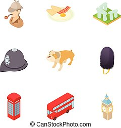 Tourism in England icons set, cartoon style