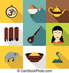 Tourism in India icon set, flat style