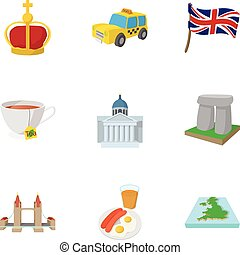 Tourism in United Kingdom icons set, cartoon style