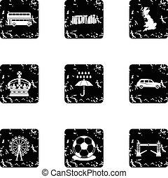 Tourism in United Kingdom icons set, grunge style