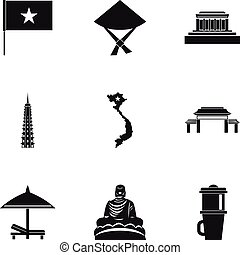Tourism in Vietnam icons set, simple style