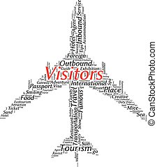 Tourism info-text graphics and arrangement concept (word cloud)